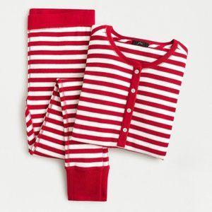 J. Crew NWT Henley Waffle Pajama Set in Stripes